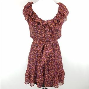 Olsenboye Floral Ruffle Capped Sleeve Dress Size L